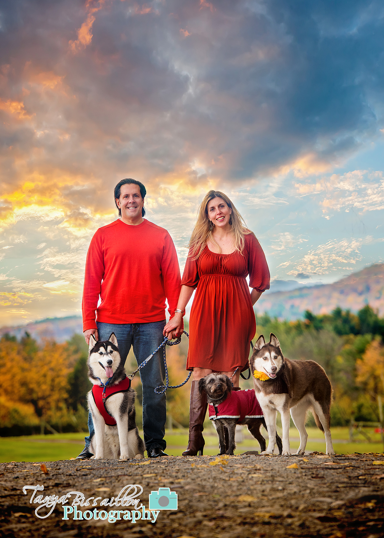 Beautiful sunset with a couple and their dogs